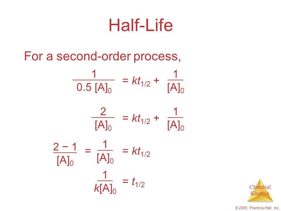 Half-Life For a second-order process, 1 0.5 [A]0 = kt1/2 + [A]0 2 [A]0